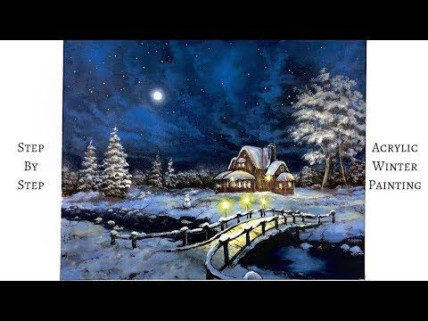 Snowy Winter Night Step By Step Acrylic Painting Colorbyfeliks Youtube Painting Tutorial Acrylic Painting Tutorials Landscape Painting Tutorial