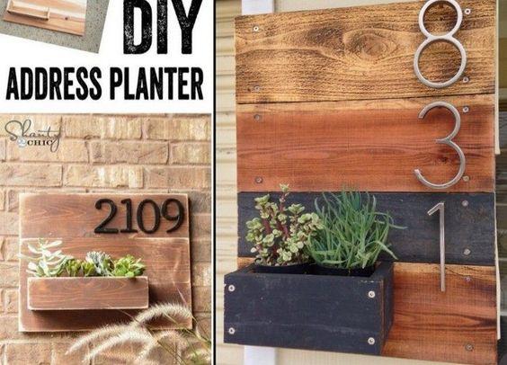 plaque numéro maison en bois massif avec jardinière intégrée - idées DIY