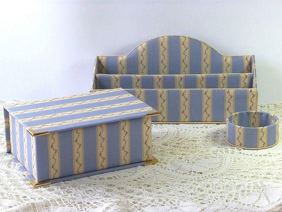 Briefständer, Schachteln Stoff bezogen, blau beige von Alles-aus-Stoff-BW auf DaWanda.com