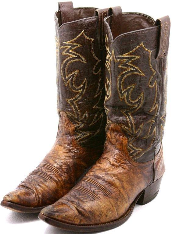 Dan Post Vintage Mens Cowboy Boots Size 10 D Brown Leather 2 tone ...