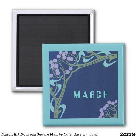 March Art Nouveau Square Magnet