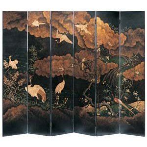 Japanese Style Folding Screen With Cranes