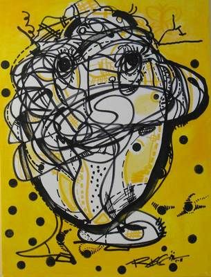 RegiaArt painting #yellow #black #art