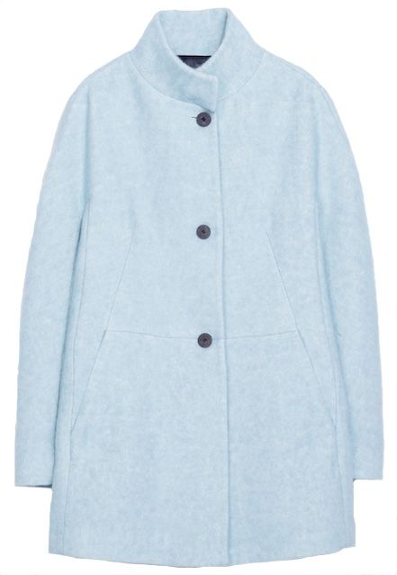 Manteau en laine bleu ciel Zara
