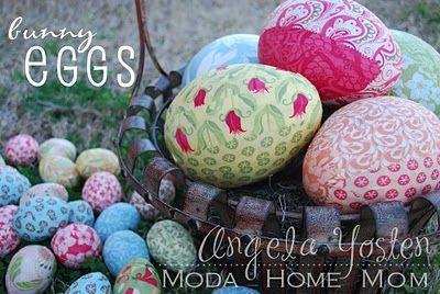 fabric covered paper mache eggs-- or  plastic eggs