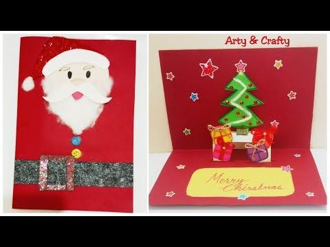 How To Make Pop Up Christmas Card Diy Santa Christmas Card Easy Christmas Tree Card For Kids Pop Up Christmas Cards Christmas Tree Cards Santa Christmas Cards