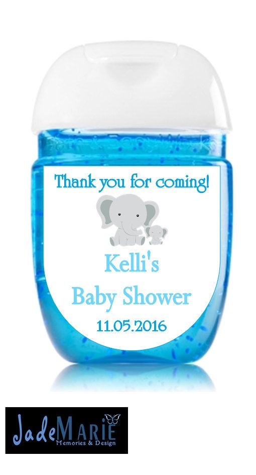 Baby Boy Hand Sanitizer Labels Baby Shower Favors Blue Grey