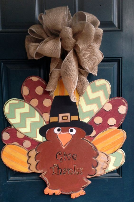 Wood Thanksgiving Turkey Door Hanger Burlap Wreaths