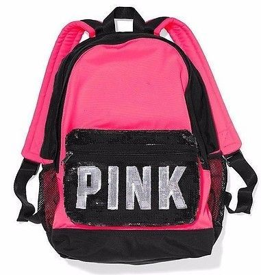 Victoria's Secret Pink Campus HOT PINK Black Sequin Sparkle ...