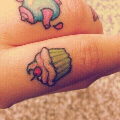 Finger cupcake tattoo...not on my finger, but super-cute!