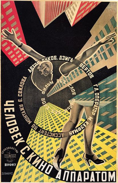 The Man with the Movie Camera by the Stenbergs, 1929, via Flickr.