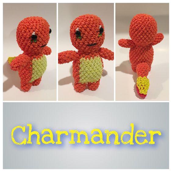 Amigurumi Monster Crochet Patterns : Charmander (Pokemon) Rubber Band Figure, Rainbow Loom ...