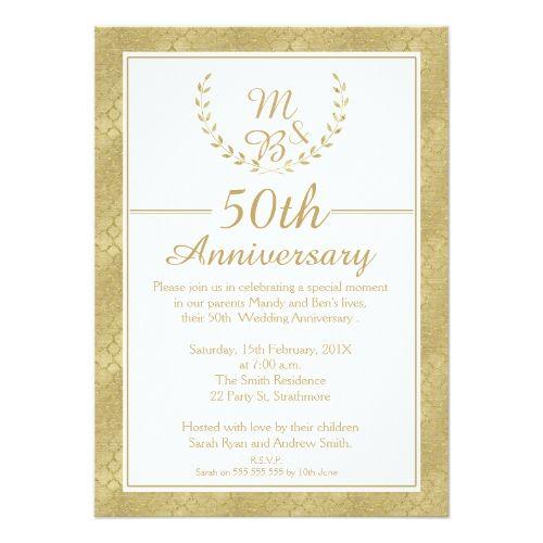 Laurel Wreath 50th Wedding Anniversary Invitation Zazzle Com 50th Wedding Anniversary Invitations 50th Anniversary Invitations Anniversary Invitations