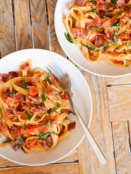 Pasta with Creamy Cherry Tomato Sauce and Ham {Gluten-Free, Dairy-Free}