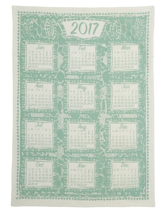 Tinker by Printink. Screen-printed calendar tea towel.  Available in Friday Showbag.