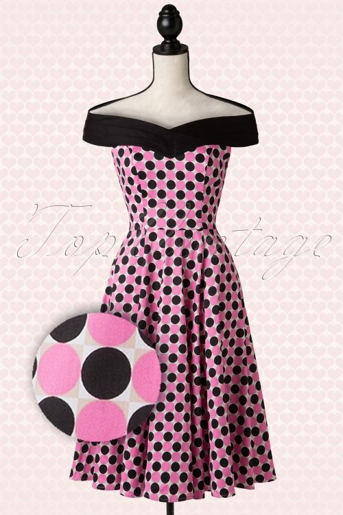 Hearts &amp Roses - 50s Patty Polkadot Swing Dress in Pink and Black ...