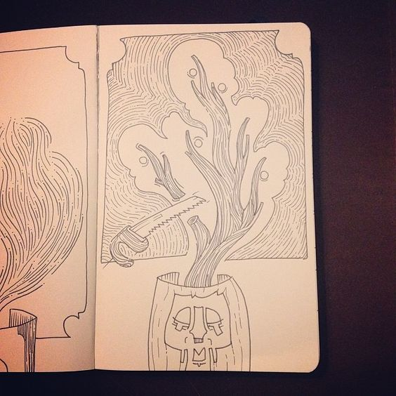 "Day 12: ""Ideas Need Pruning."" A Drawing a Day Project. #drawingaday #moleskine #pen #journaldrawing #drawing"