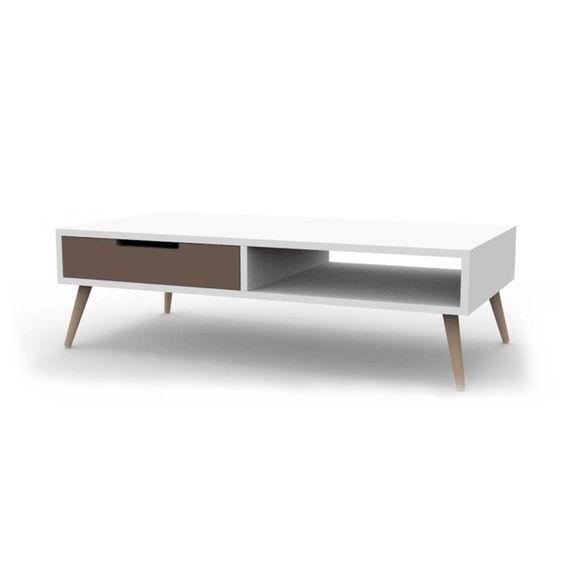 Table basse 2 tiroirs 1 niche 120 cm vintage d co - Meuble tv hauteur 120 cm ...