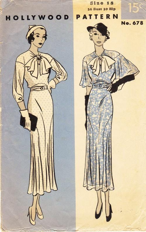"Bust 36"" - Vintage 30s Dress Pattern - Hollywood Pattern 678 - Misses' and Woman's Frock in Two Variations"