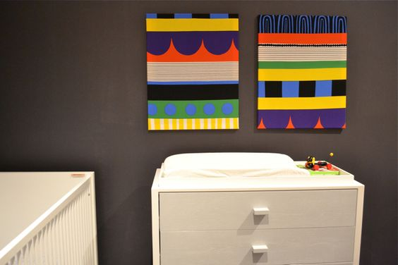 DIY Fabric Wall Art - easy and affordable way to create nursery wall art with a punch!