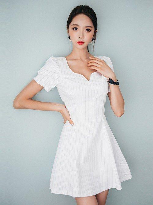 On Sale Stripe V-collar Dress_Short Sleeve Dress_Dresses_WHOLESALE ...