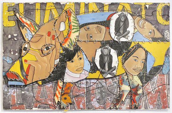 Tété Camille Azankpo (Biografie)  Collage ohne Titel (Material-Collage) 2011  Holz, Stoff, Metall, Acryll  Grösse (Höhe x Breite x Tiefe) ca...