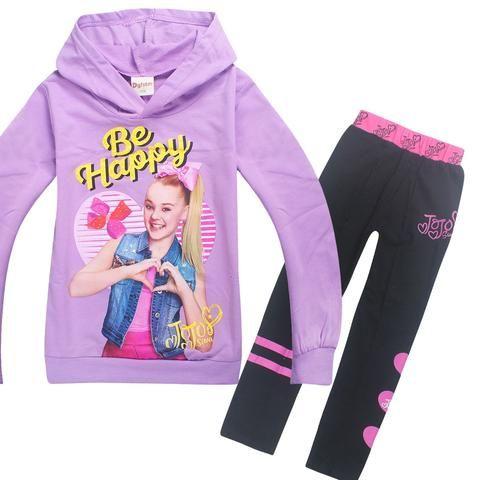Newest Girls JoJo Siwa Hoodies Casual Cartoon Tops Sweatshirt Clothes+trousers