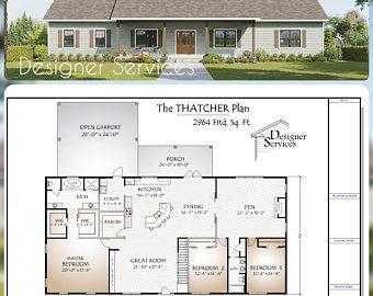 Spacious Cottage 3 Bed 2 Bath 40 X40 Custom House Etsy In 2021 Container House Plans Cottage House Plans Shipping Container House Plans