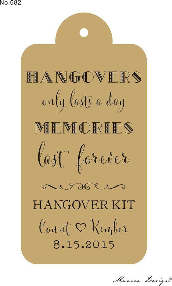 chalkboard gift tags wedding hangover kit - Google Search