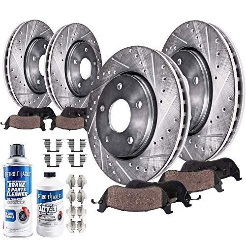 Detroit Axle All 4 Front And Rear Drilled And Slotted Disc Brake Rotors W Ceramic Pads W Hardware Brake Cl Ceramic Brake Pads Ceramic Brakes Brake Rotors