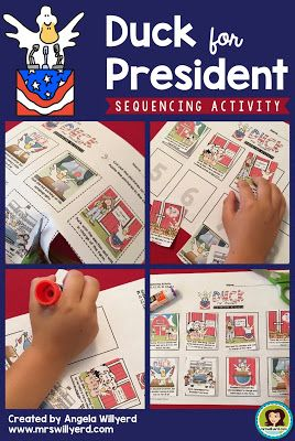 Duck for President Sequencing Activity Companion Resource for Presidents' Day or Election Day: Illustrated cards allow students to demonstrate comprehension by retelling the story in the order the events occurred.  Students glue the cards in the correct order on the final student handout.  Great for Grades 1-3!