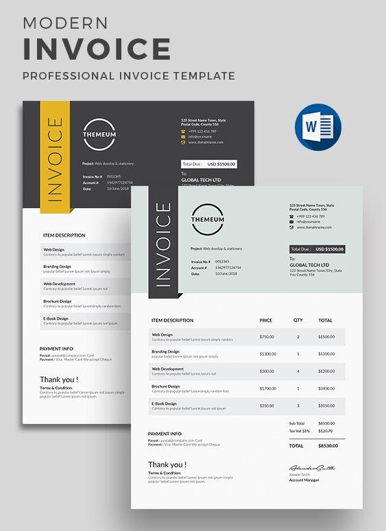 Invoice Invoice Design Template Quote Template Design Letterhead Design
