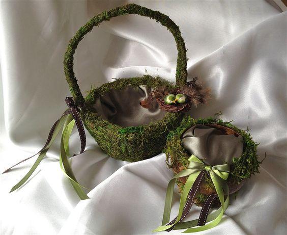 Flower Girl Baskets Green : Green love birds and wedding flowers on