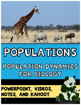 This EDITABLE Population Ecology Bundle includes a high quality 41-slide PowerPoint, Student Notes, Teacher Key, and Custom-Made KAHOOT!Highly engaging and effective! Includes fun short videos, graphs, gifs, and relevant high-quality graphics to clearly explain the how populations grow, change, and are limited.