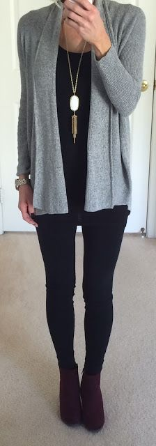 Express Grey Cardigan, Leggings, Burgundy Booties, Kendra Scott Ivory Rayne Necklace