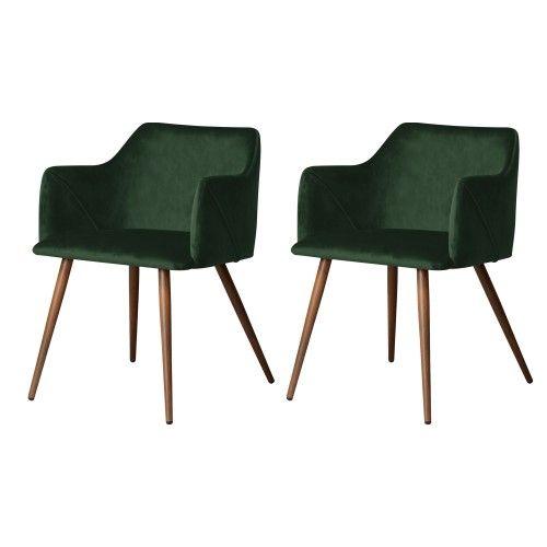 Chaise Daisy En Velours Vert Fonce Lot De 2 Chaise Design Chaise Et Chaise Salle A Manger
