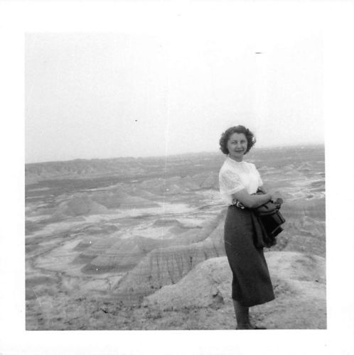 Photograph Snapshot Vintage Black and White: Sexy Woman Desert Landscape 1950's