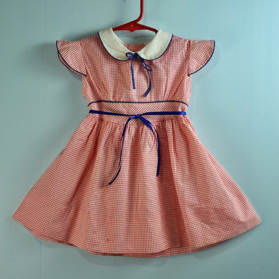 1940s 40s Little Girls Babydoll Dress W Butterfly