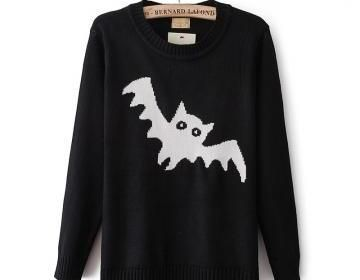 Round Neck Long-Sleeved Sweater Bat..