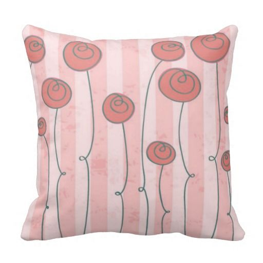 Girls Pink and Gray Whimsical Flower Pillow