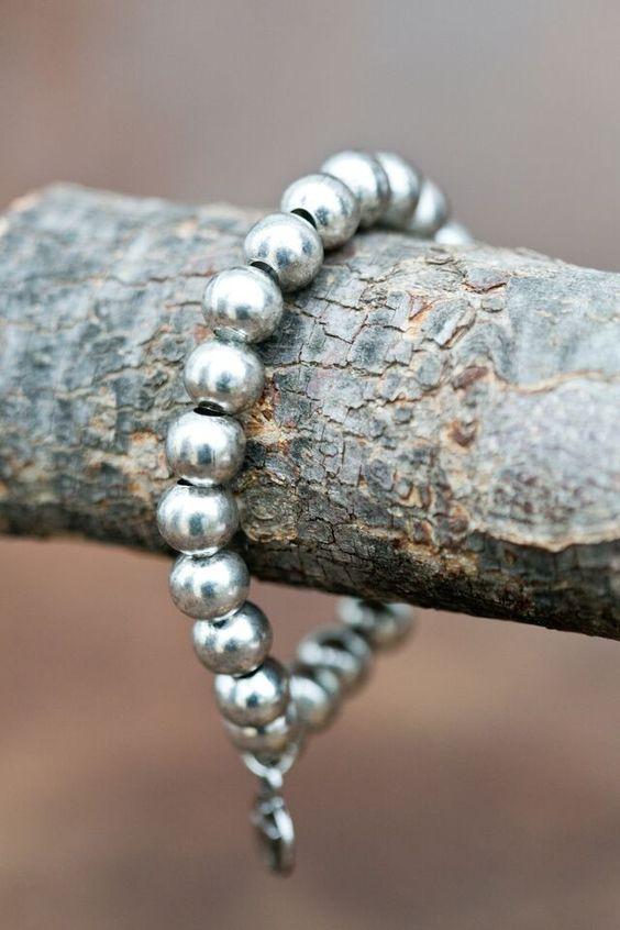 West & Co. Women's Silver Ball Stretch Bracelet