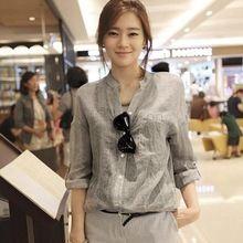 2015 nueva camisa floja de la blusa Femininas sólido con cuello en v para mujer tops mujeres blusa Casual lino gota envío SV07 SV014882(China (Mainland))