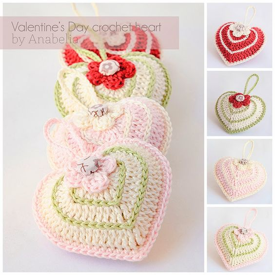 (Clauer) Valentines Day crochet heart with chart - Anabelia Handmade