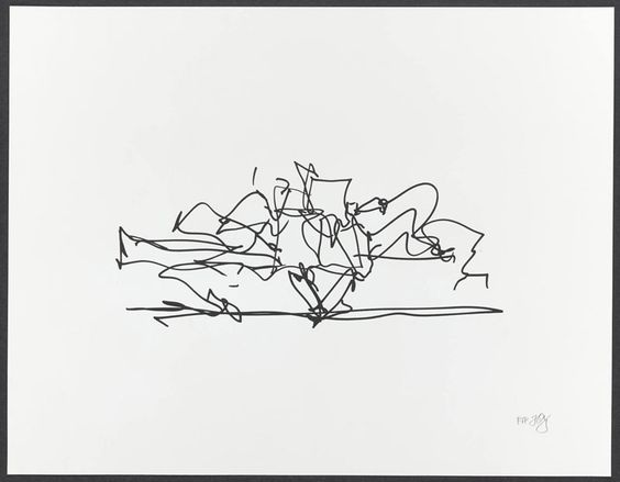 """Frank Gehry    Marques de Riscal Winery ,  2009  ( FG08-1592 )  1 color lithograph  14"""" x 18""""    Edition of 35"""