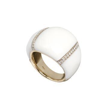 Anello a fascia larga in oro bianco, diamanti e tridacna