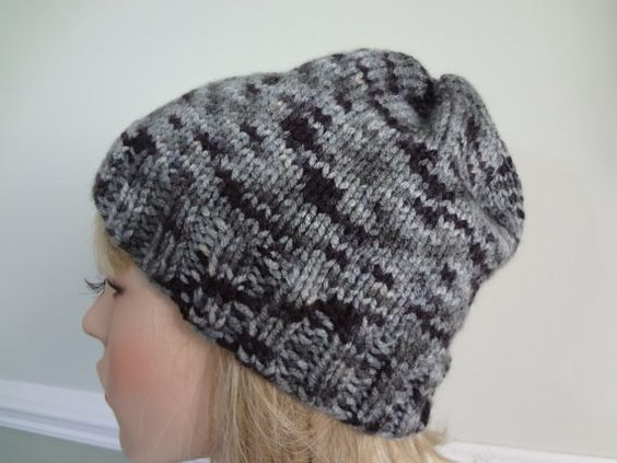 Black White Grey Gray Knit Slouchy Tam Hat Cap by yarnnscents