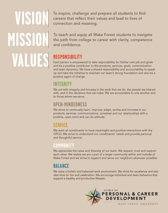 personal core values statement examples