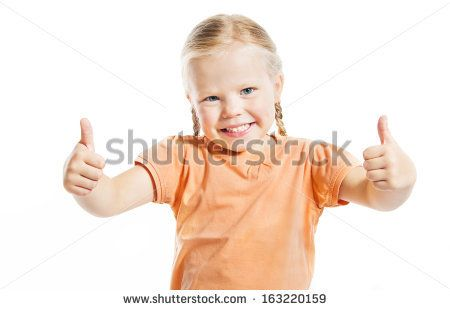 Portrait Of Happy Girl Showing Thumbs Up Isolated Over White Background Stock Photo 163220159 : Shutterstock