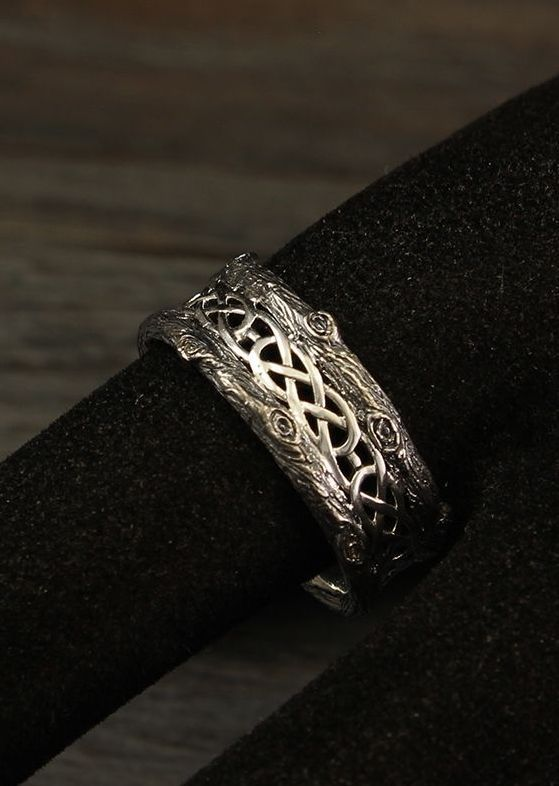 His And Her Tree Wedding Bands With Celtic Pattern His And Her