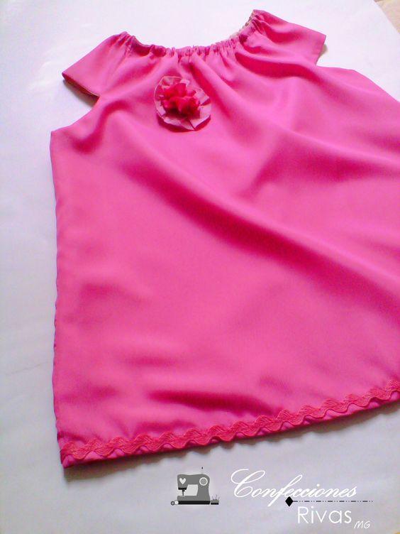 Vestido Rosado estilo Batica para niña de 3 años